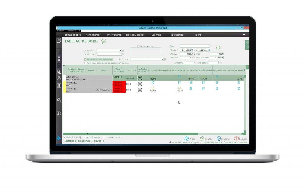 Expert.i Macbook écran d'accueil du logiciel